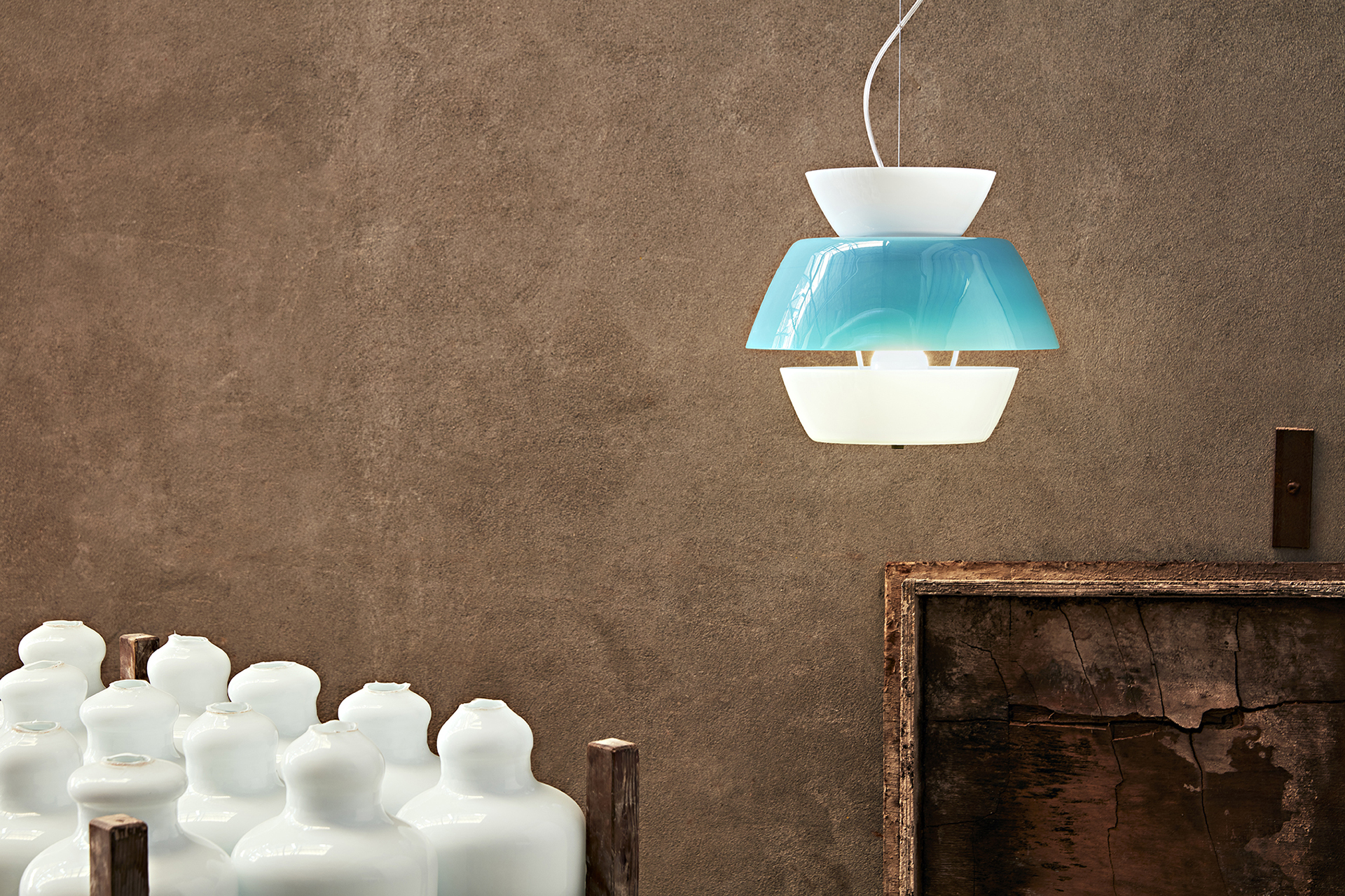 CarloMoretti - Lungomare, new decorative suspension lighting, made of mouth-blown glass with pastel colors