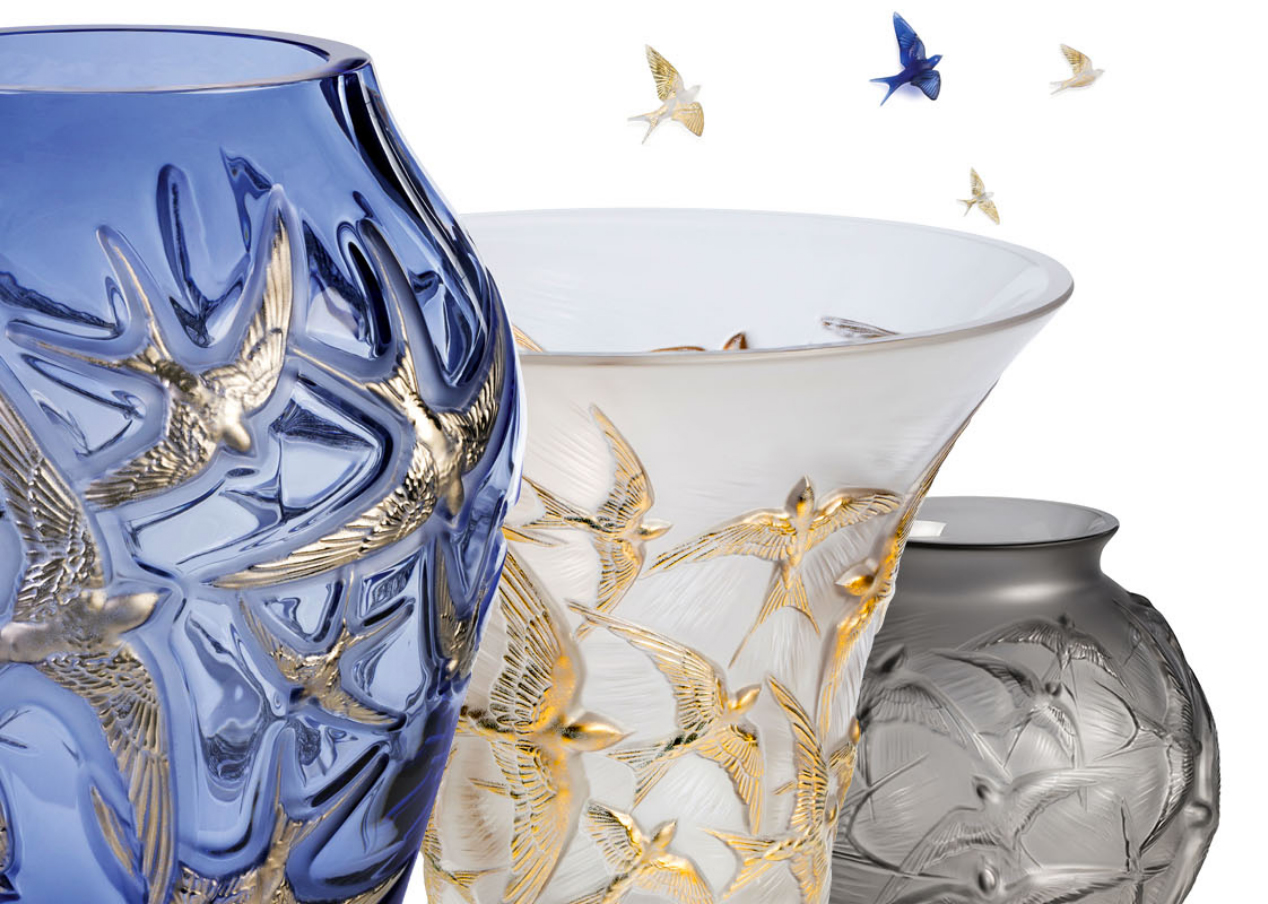 Lalique - Hirondelles, a composition of vases with the theme of the figure of the swallow, symbol of happiness and freedom, to celebrate the 130th anniversary