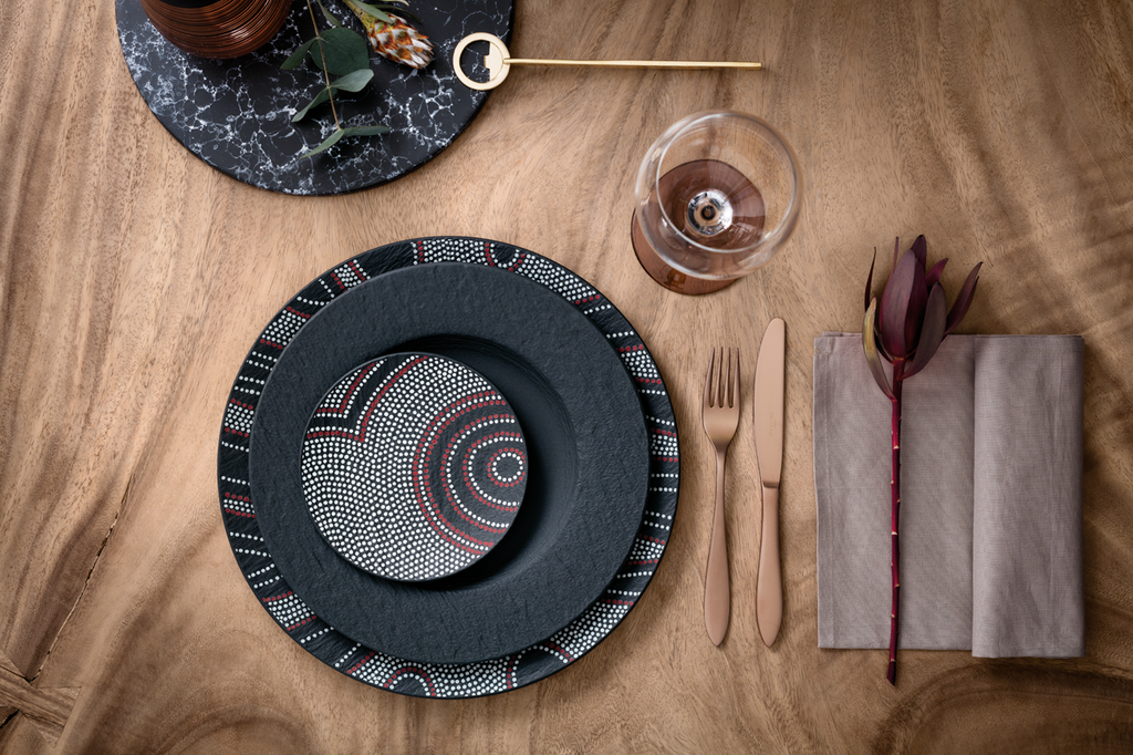 Villeroy&Boch - Manufacture Rock Desert, table service inspired by the traditional Aboriginal style that gives the table an artistic touch