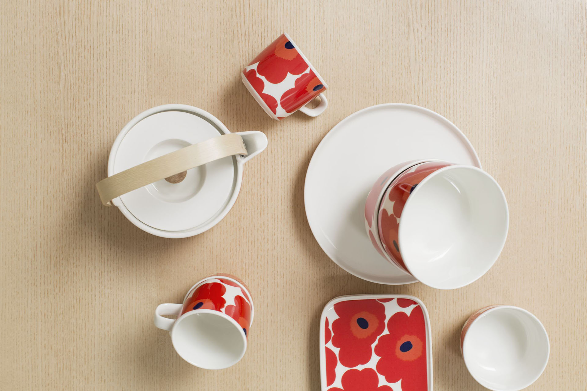 Marimekko - Unikko, a tea service in the iconic bright red motif that decorates the porcelain